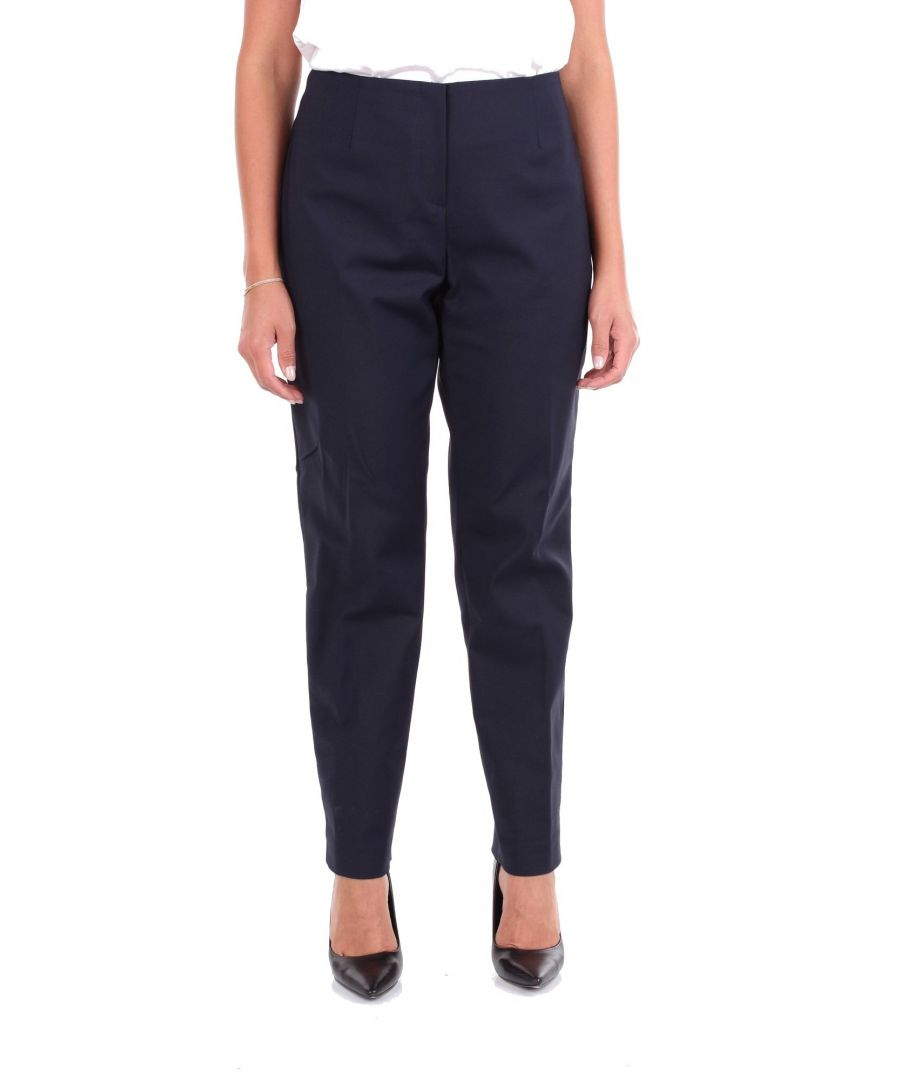 Image for LES COPAINS WOMEN'S 0L3075BLUE BLUE COTTON PANTS