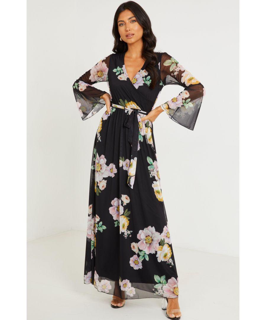 Image for Black Mesh Floral Print Maxi Dress