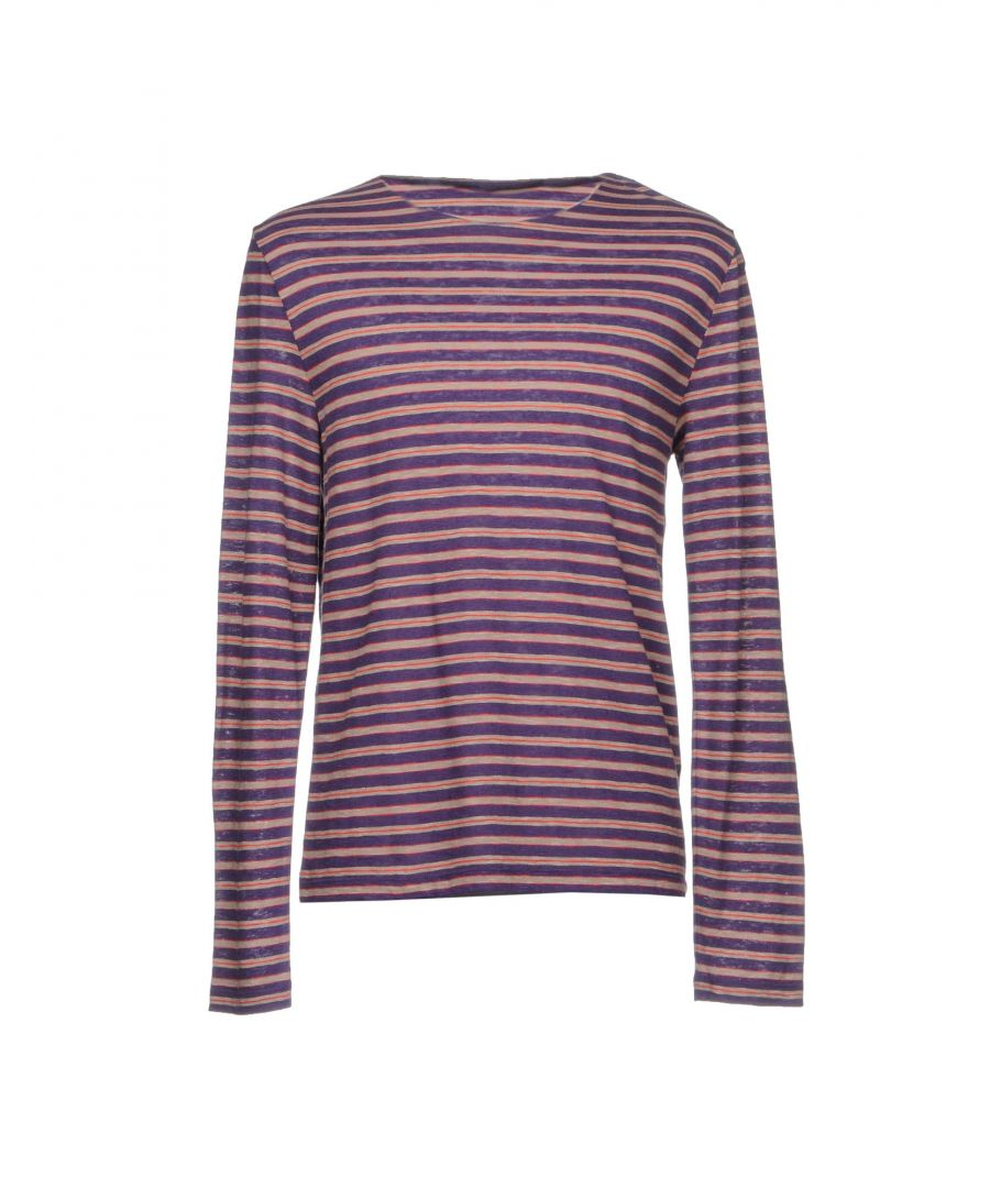 Image for Versace Collection Purple Stripe Cotton Knit Jumper