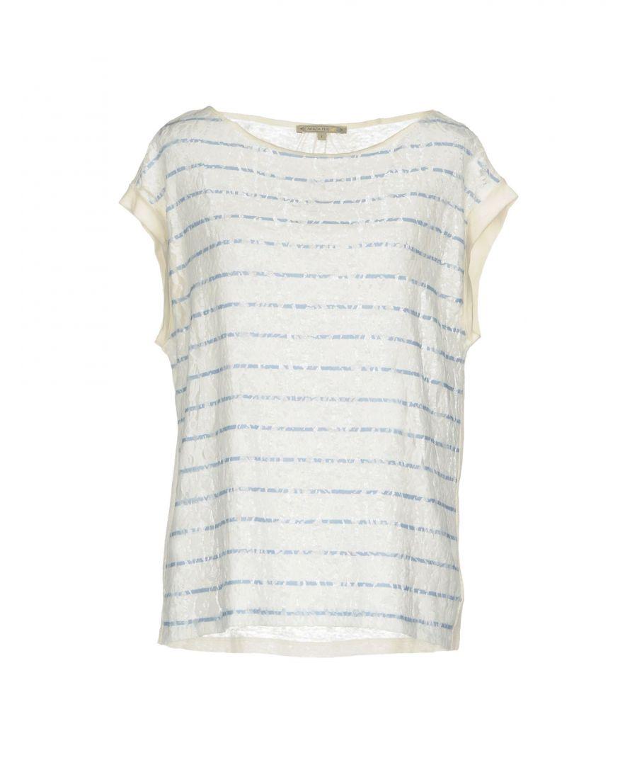 Image for Patrizia Pepe White Stripe Short Sleeve Knit