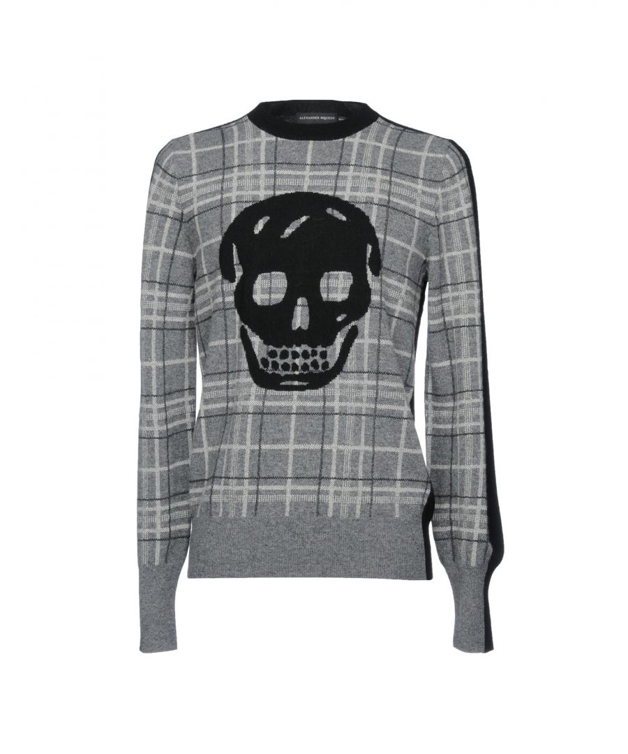 Image for Alexander McQueen Grey Plaid And Skull Wool Jumper