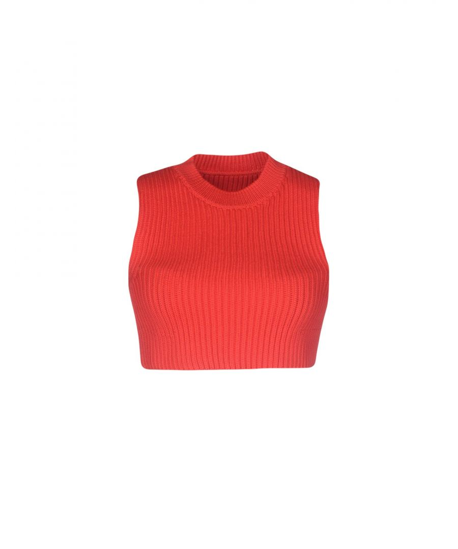 Image for MM6 Maison Margiela Red Knit Crop Top
