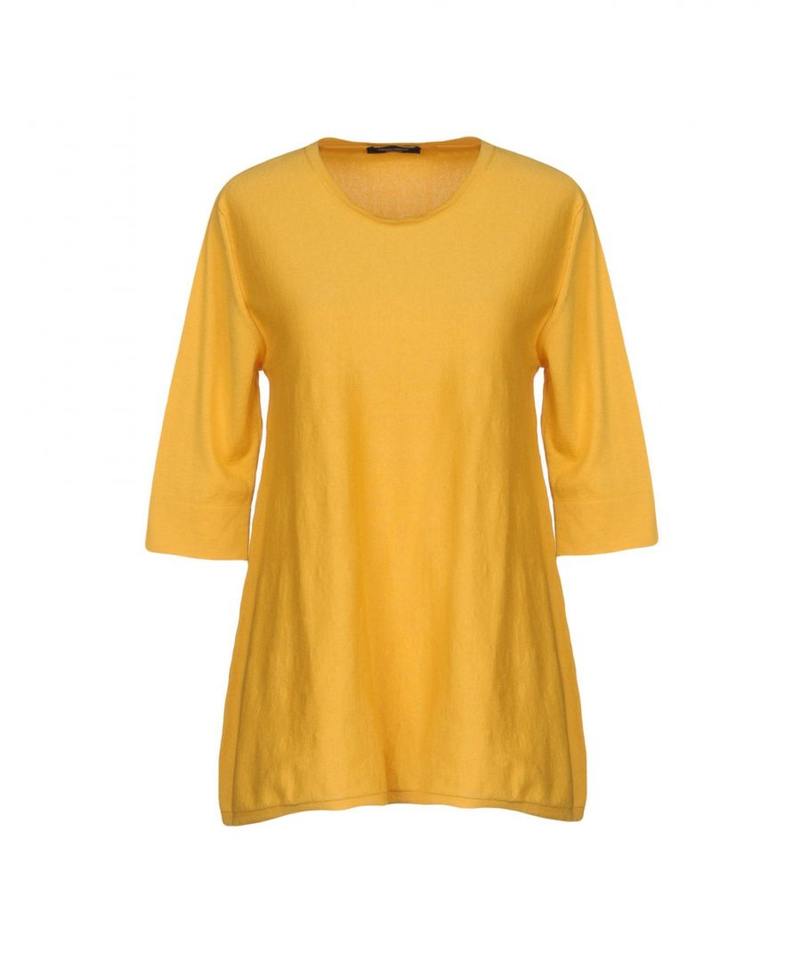 Image for Roberto Collina Yellow Cotton Knit Three Quarter Length Sleeve Jumper