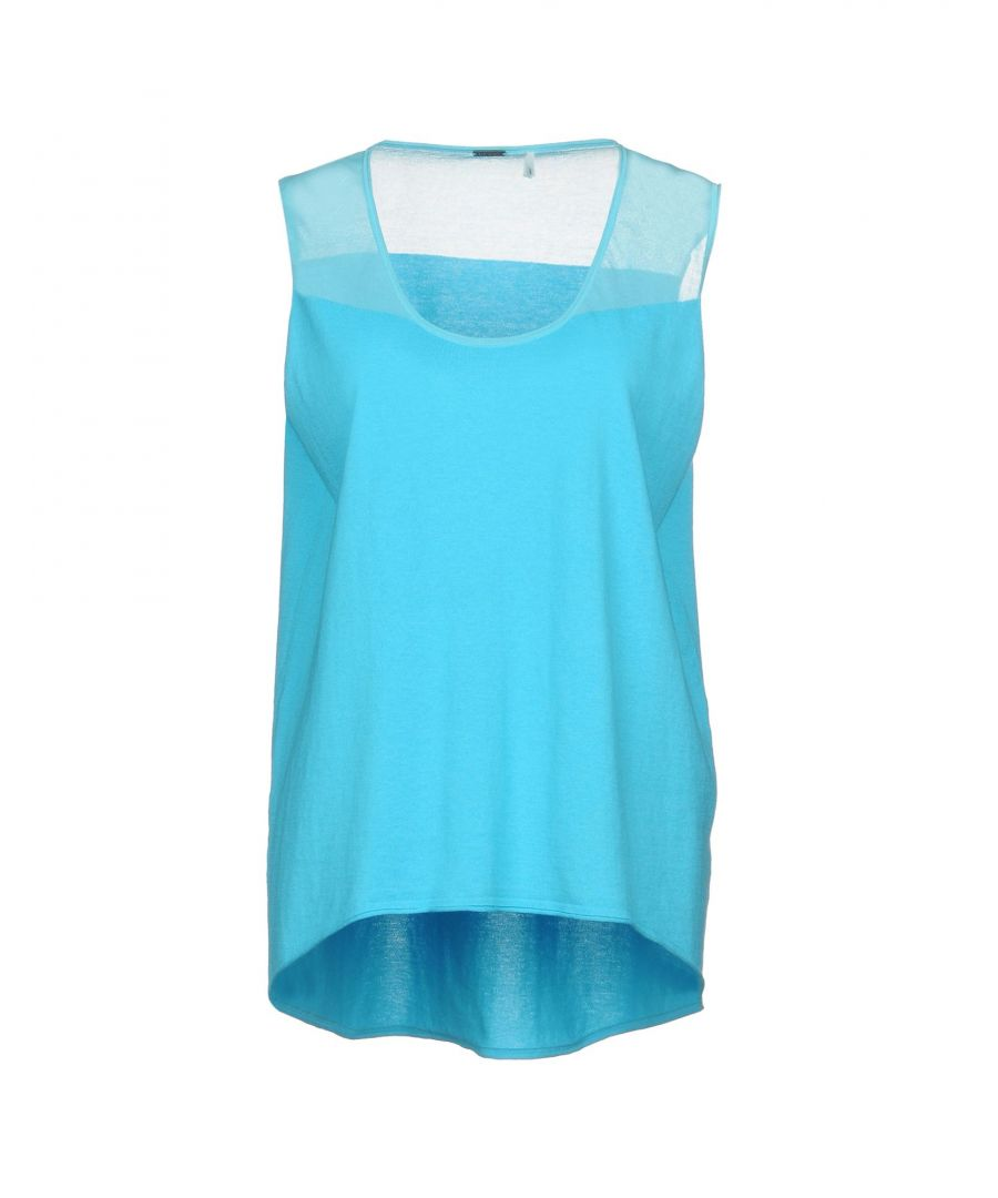 Image for Elie Tahari Turquoise Cotton Knit Tank