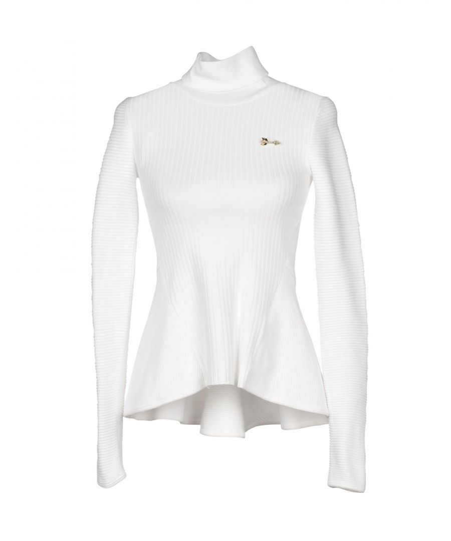 Image for Betty Blue White Knit Roll Neck Jumper With Brooch Detail