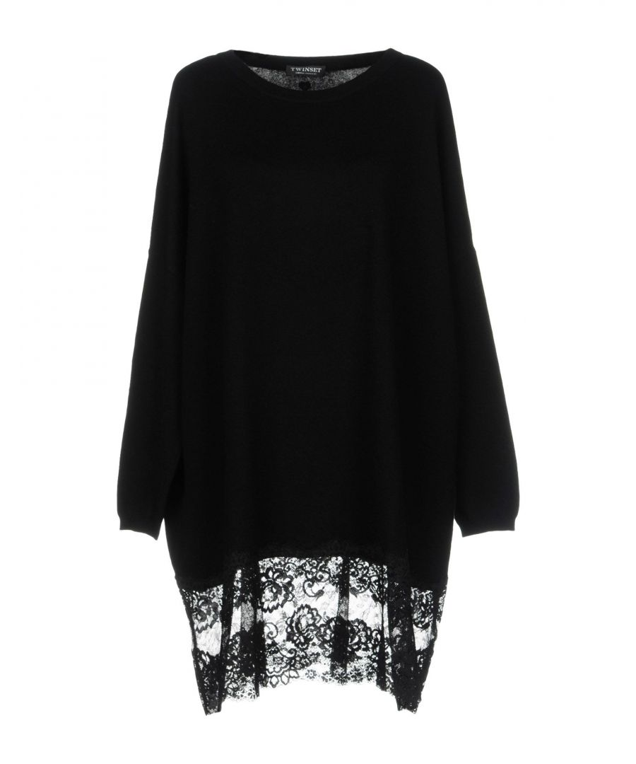 Image for Twinset Black Cotton Knit Jumper With Lace Insert