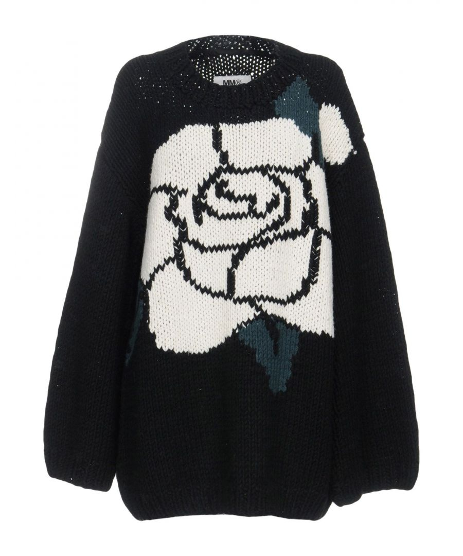 Image for MM6 Maison Margiela Black Wool Floral Design Jumper