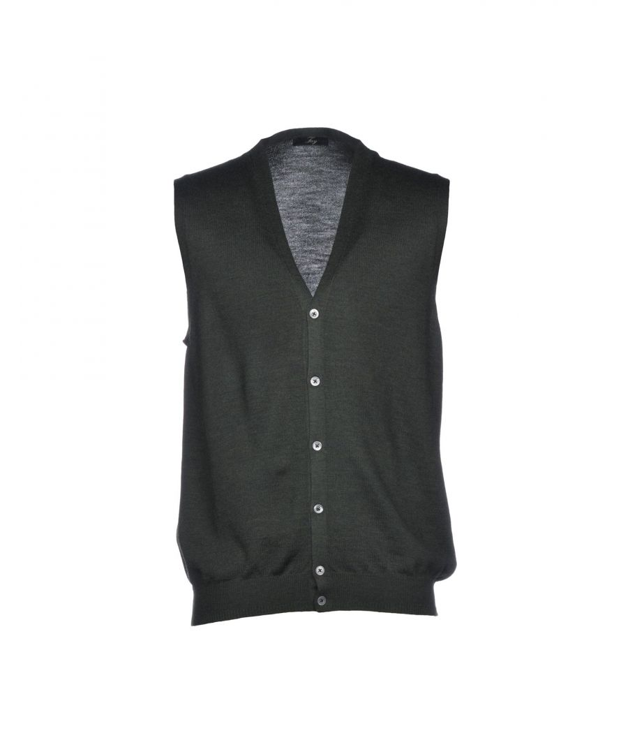 Image for Fay Military Green Virgin Wool Sleeveless Cardigan