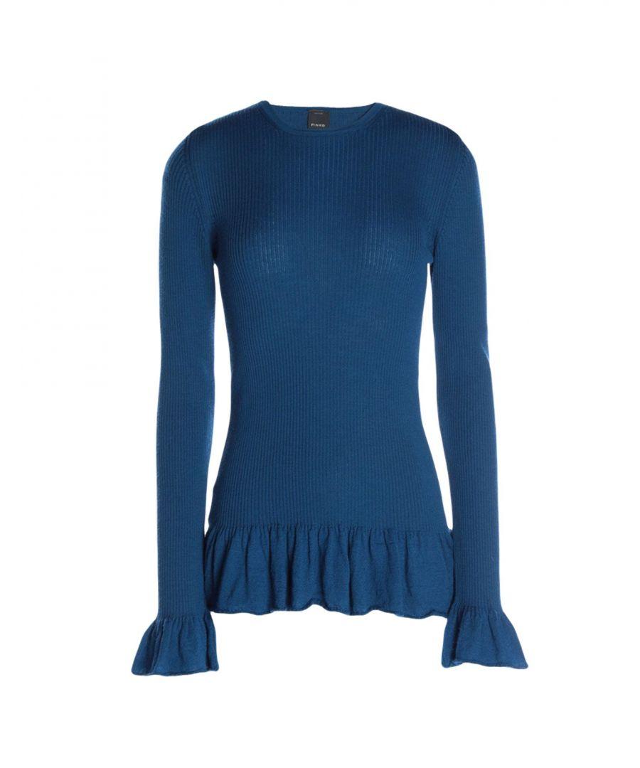 Image for Pinko Blue Wool Ruffle Jumper