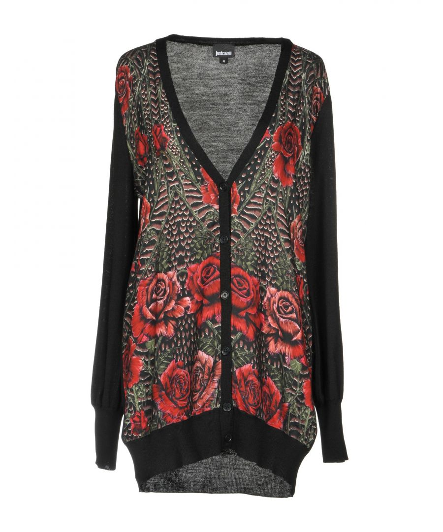 Image for Just Cavalli Black Floral Design Wool Cardigan