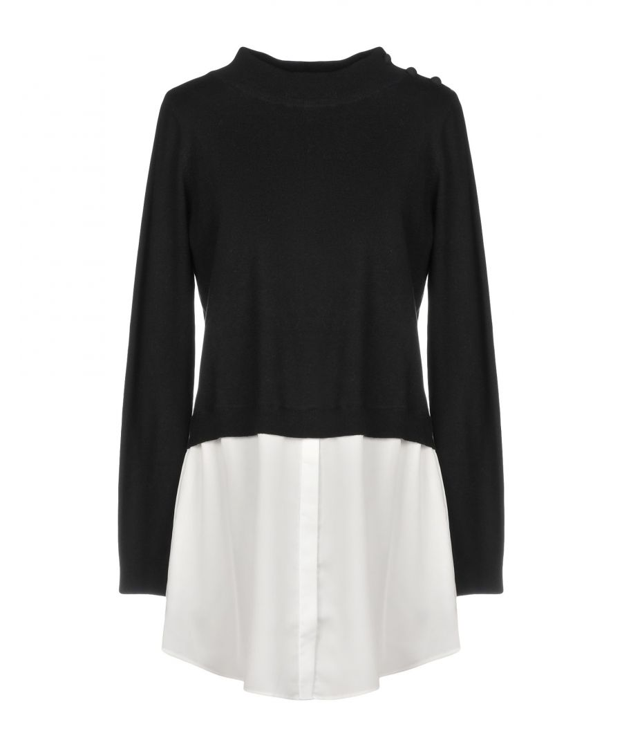 Image for Scee By Twinset Black Cotton Jumper With Satin Insert