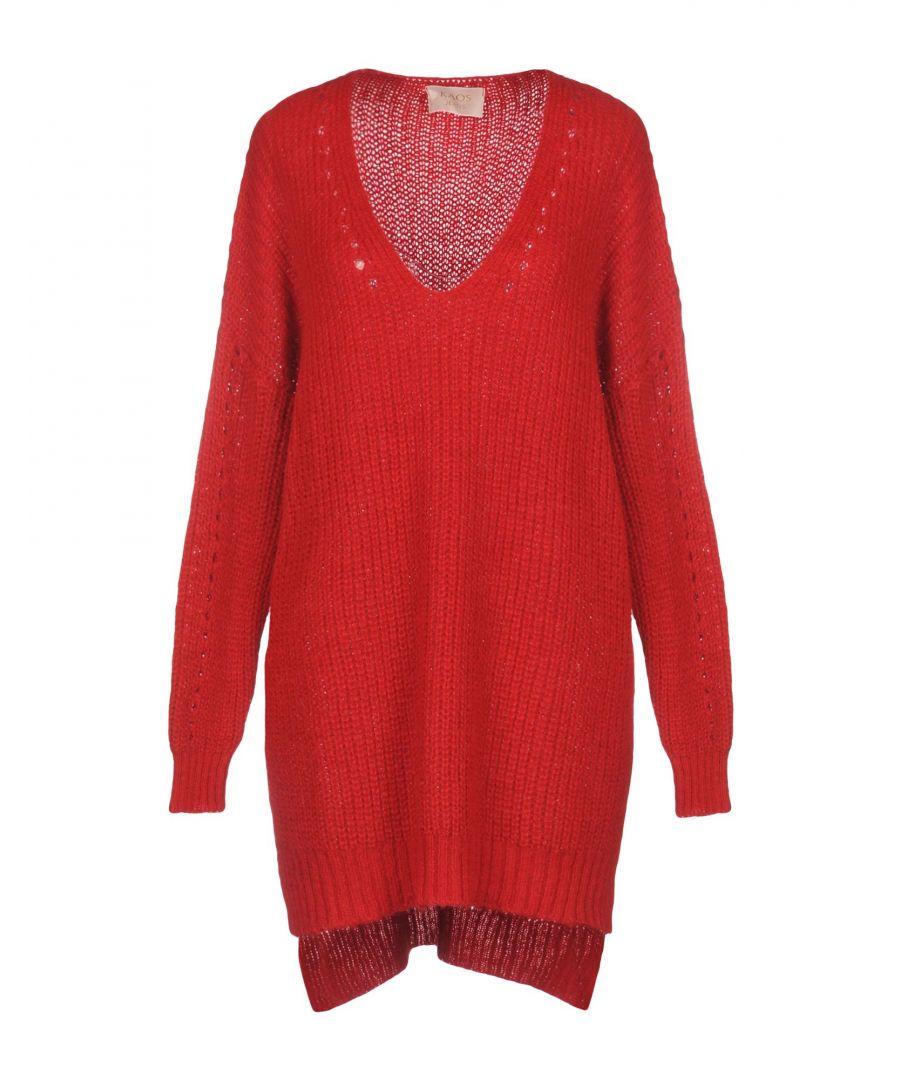 Image for Kaos Jeans Red Long Line V Neck Jumper