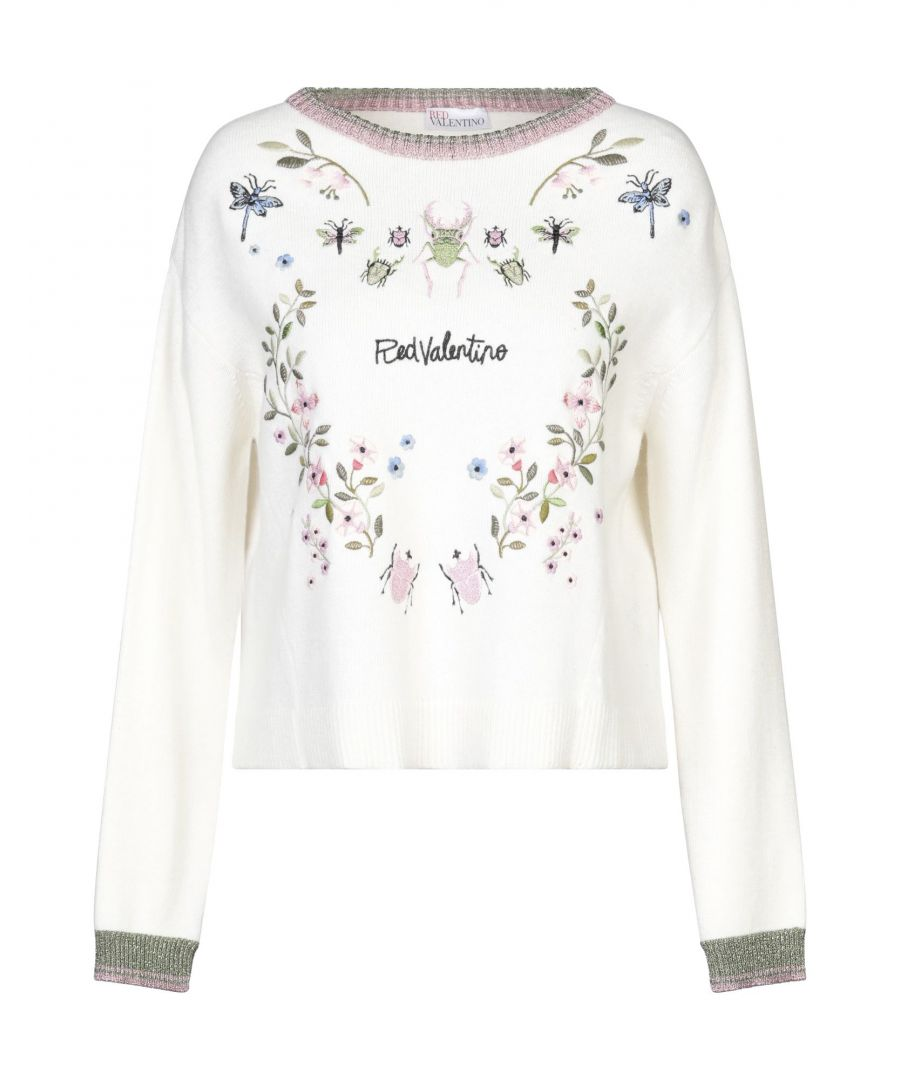 Image for Redvalentino Ivory Wool Embroidered Detail Jumper