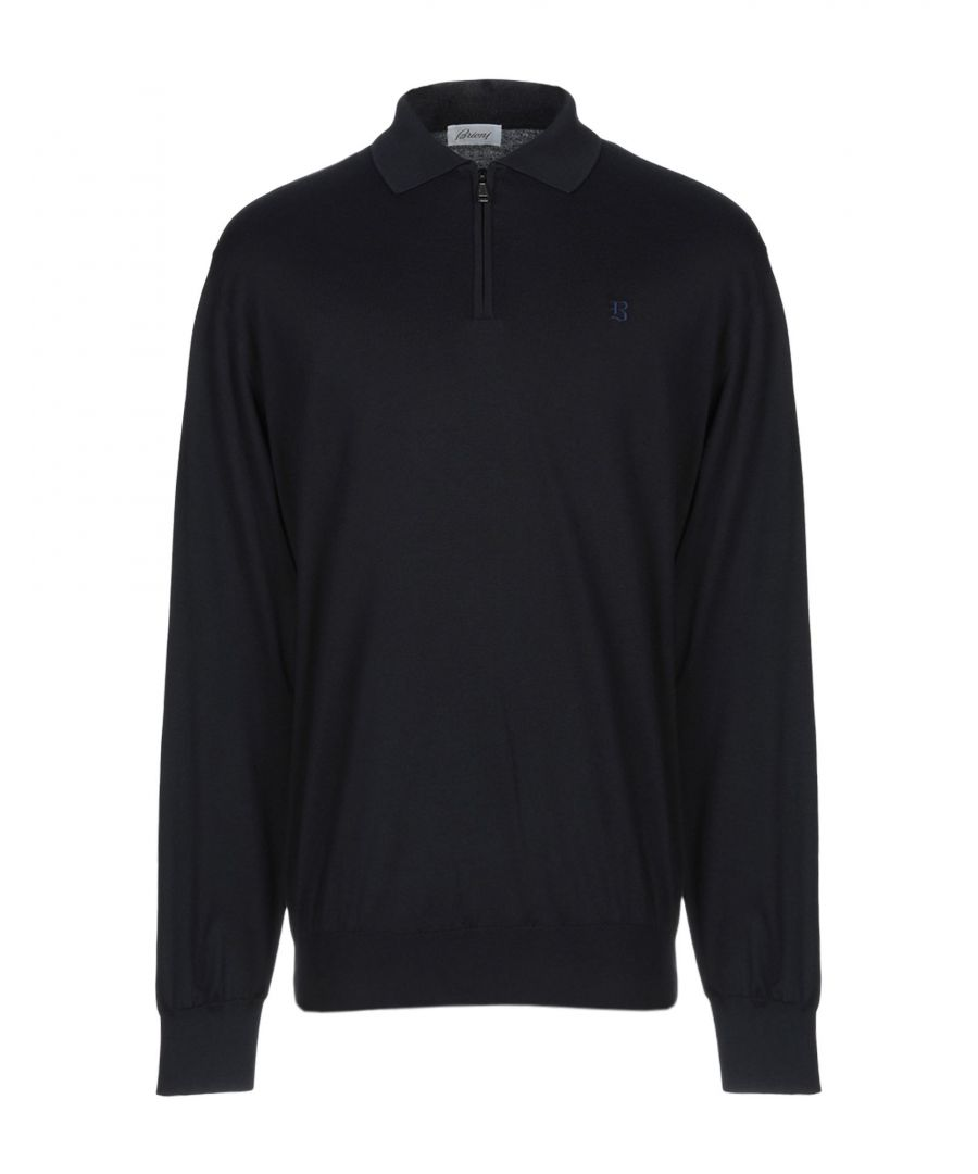 Image for Brioni Dark Blue Cotton Knit Jumper