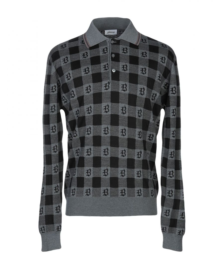Image for Brioni Grey Virgin Wool Check Knit Jumper