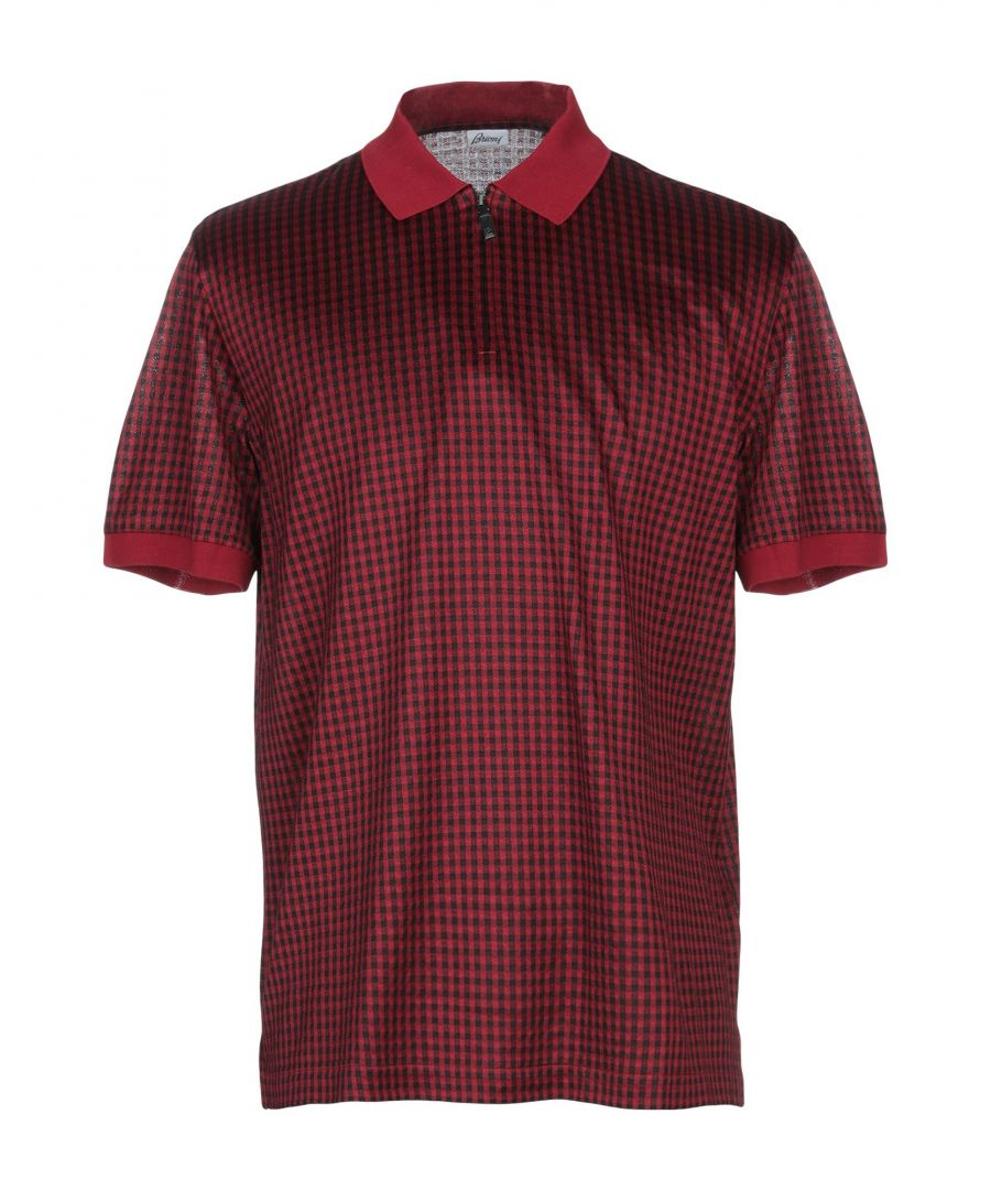 Image for Brioni Maroon Cotton Plaid Knit Short Sleeve Polo Shirt