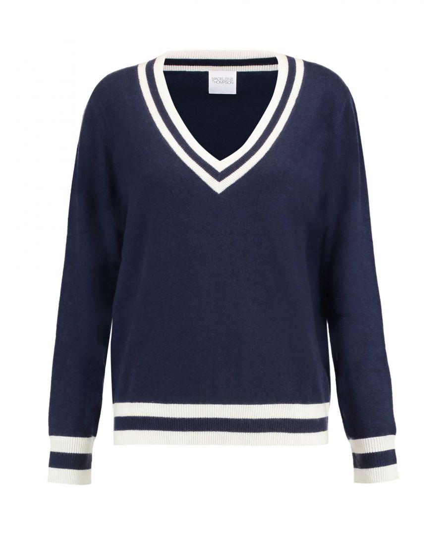 Image for Madeleine Thompson Dark Blue Wool Lightweight Knit Jumper