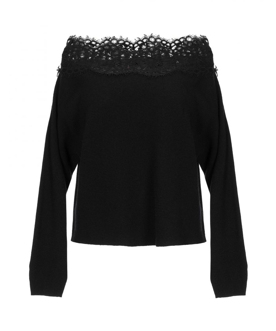 Image for Twinset Black Wool And Lace Knit