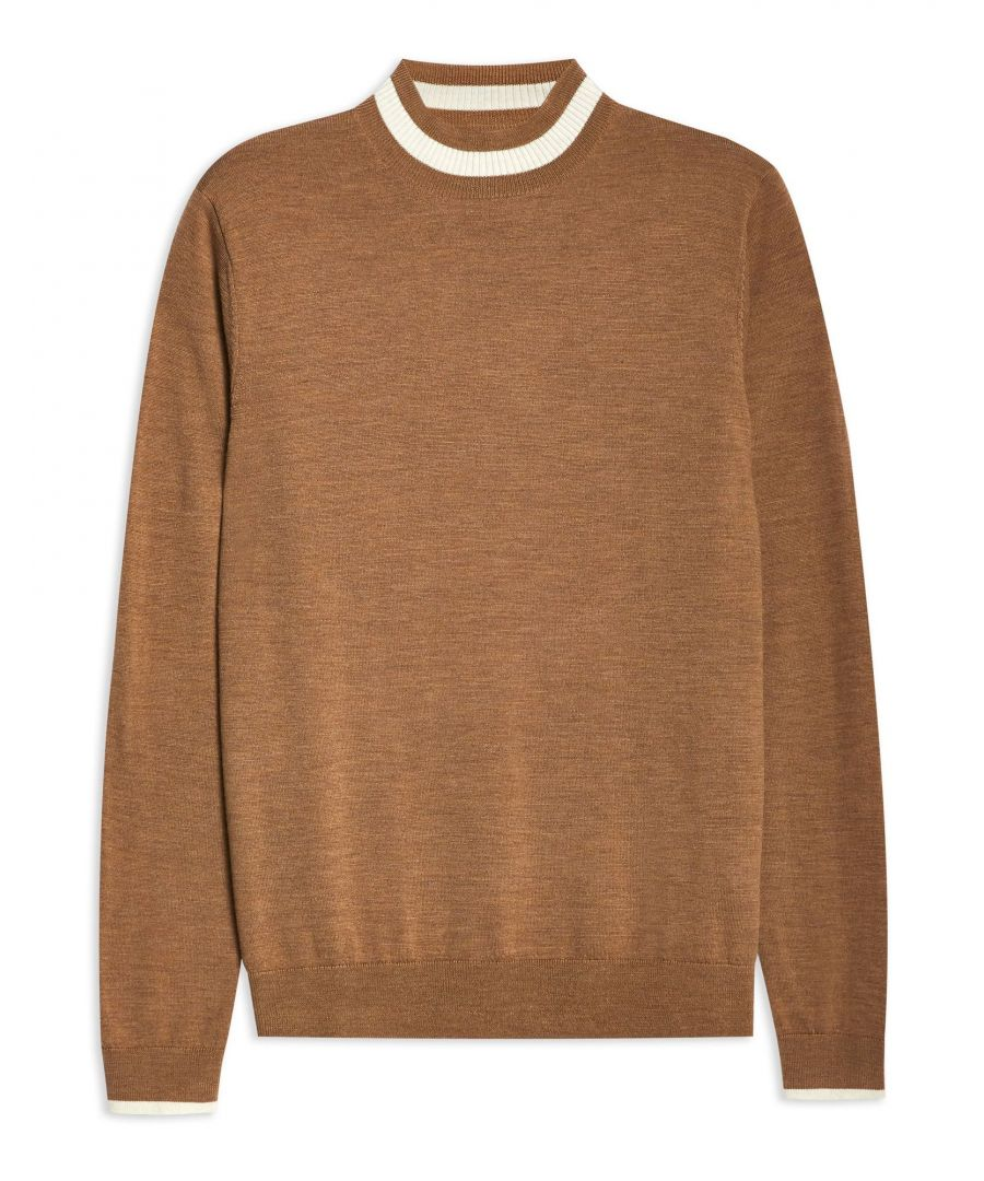 Image for Topman Camel Merino Wool Knit Jumper