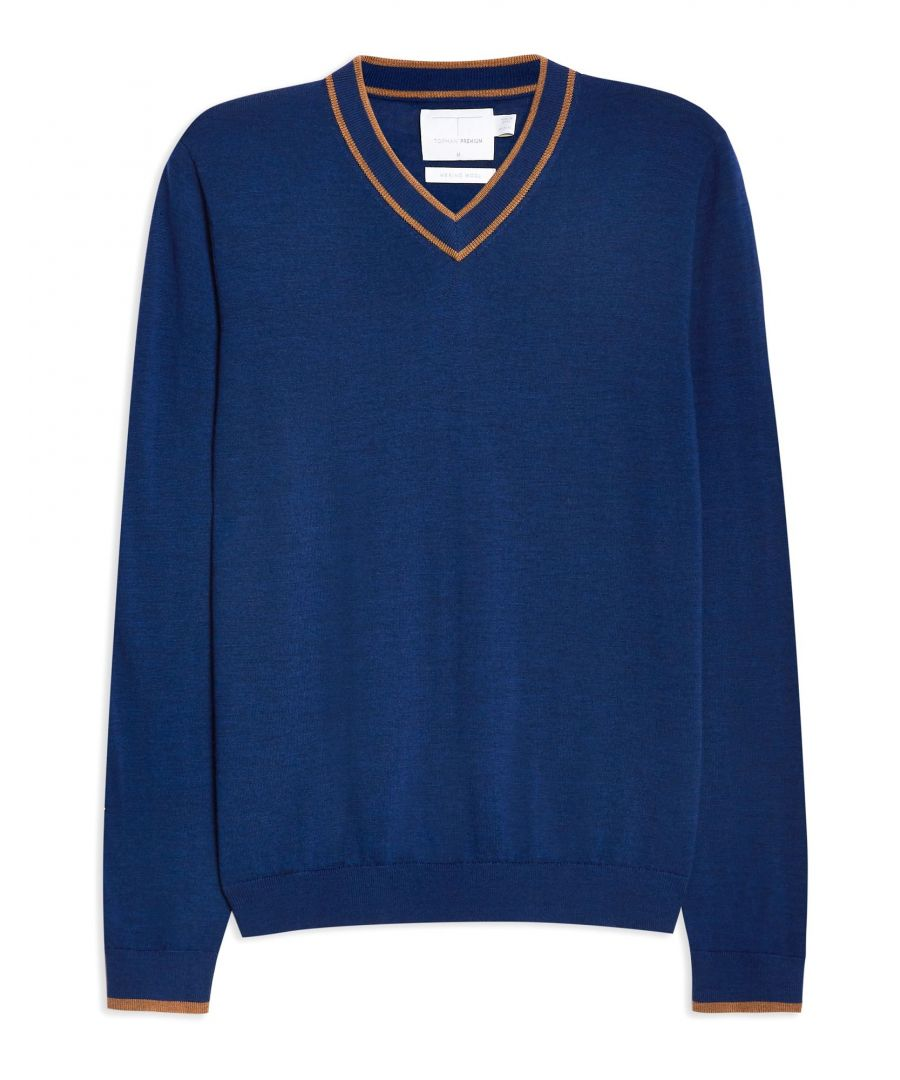 Image for Topman Dark Blue Merino Wool Knit Jumper