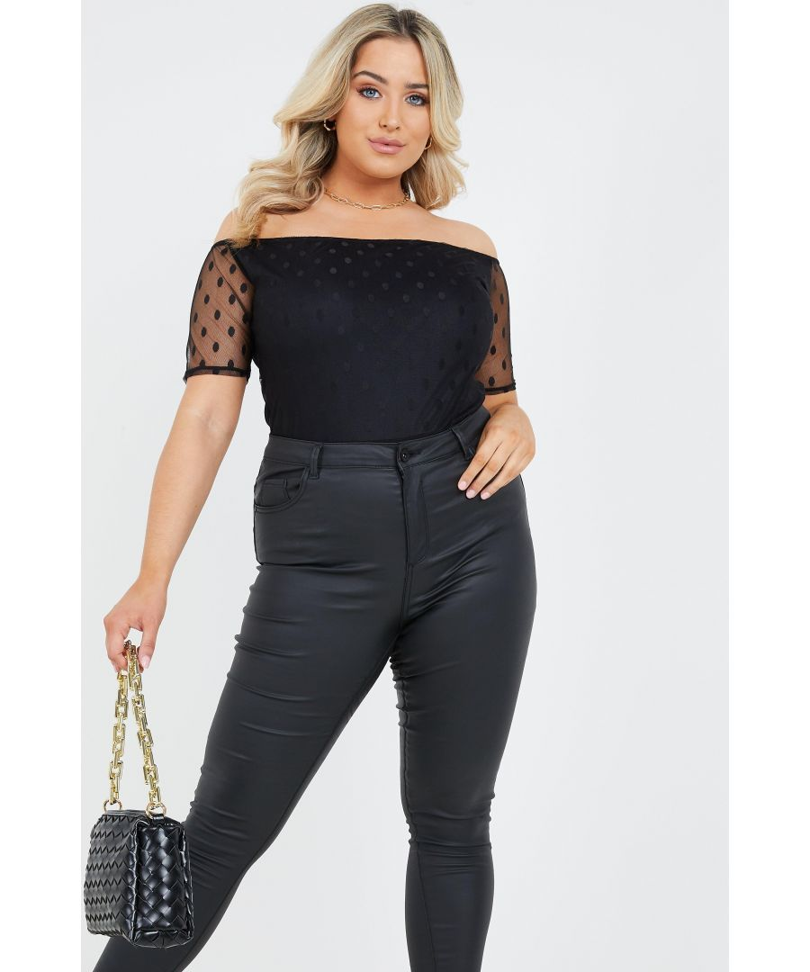 Image for Curve Black Polka Dot Mesh Bodysuit