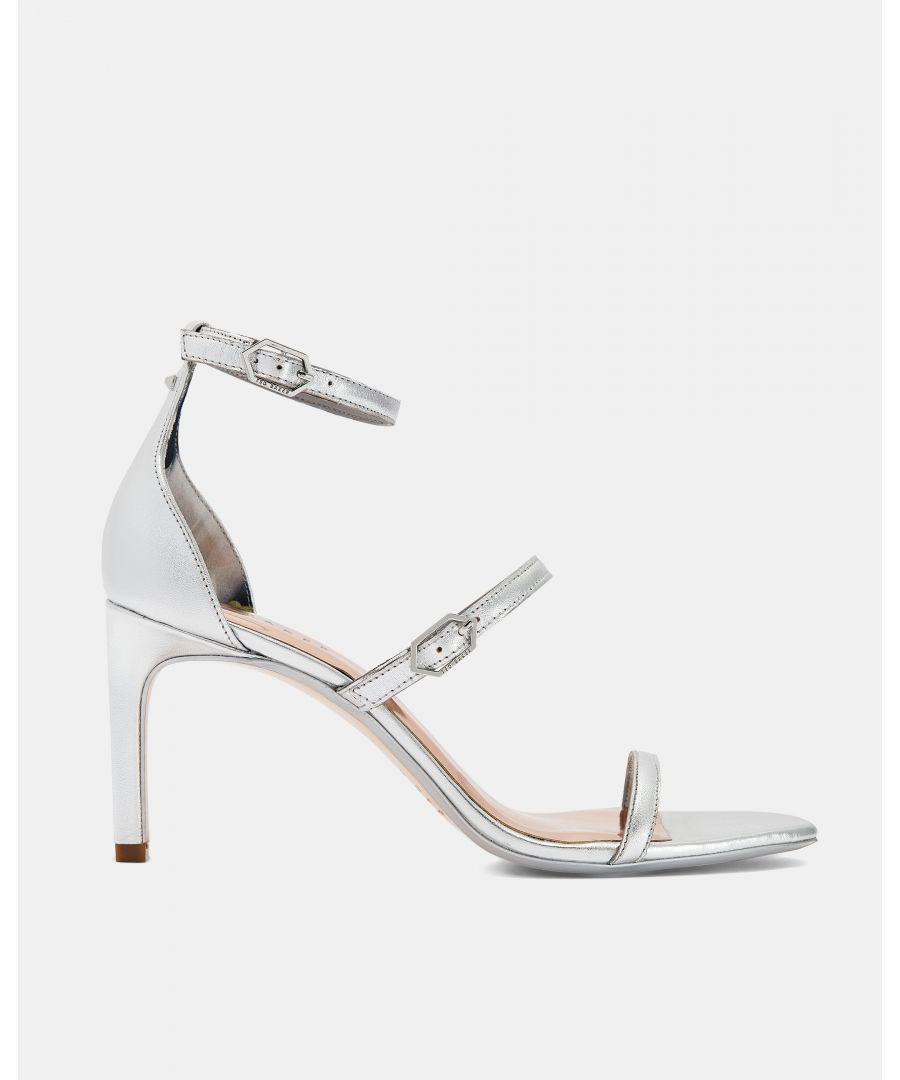 Image for Ted Baker Triam Metallic Triple Strap Sandals, Silver