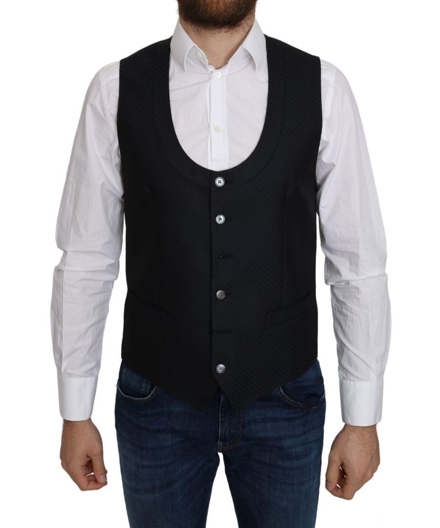 Image for Dolce & Gabbana Blue Silk Romb Pattern Formal Coat Vest