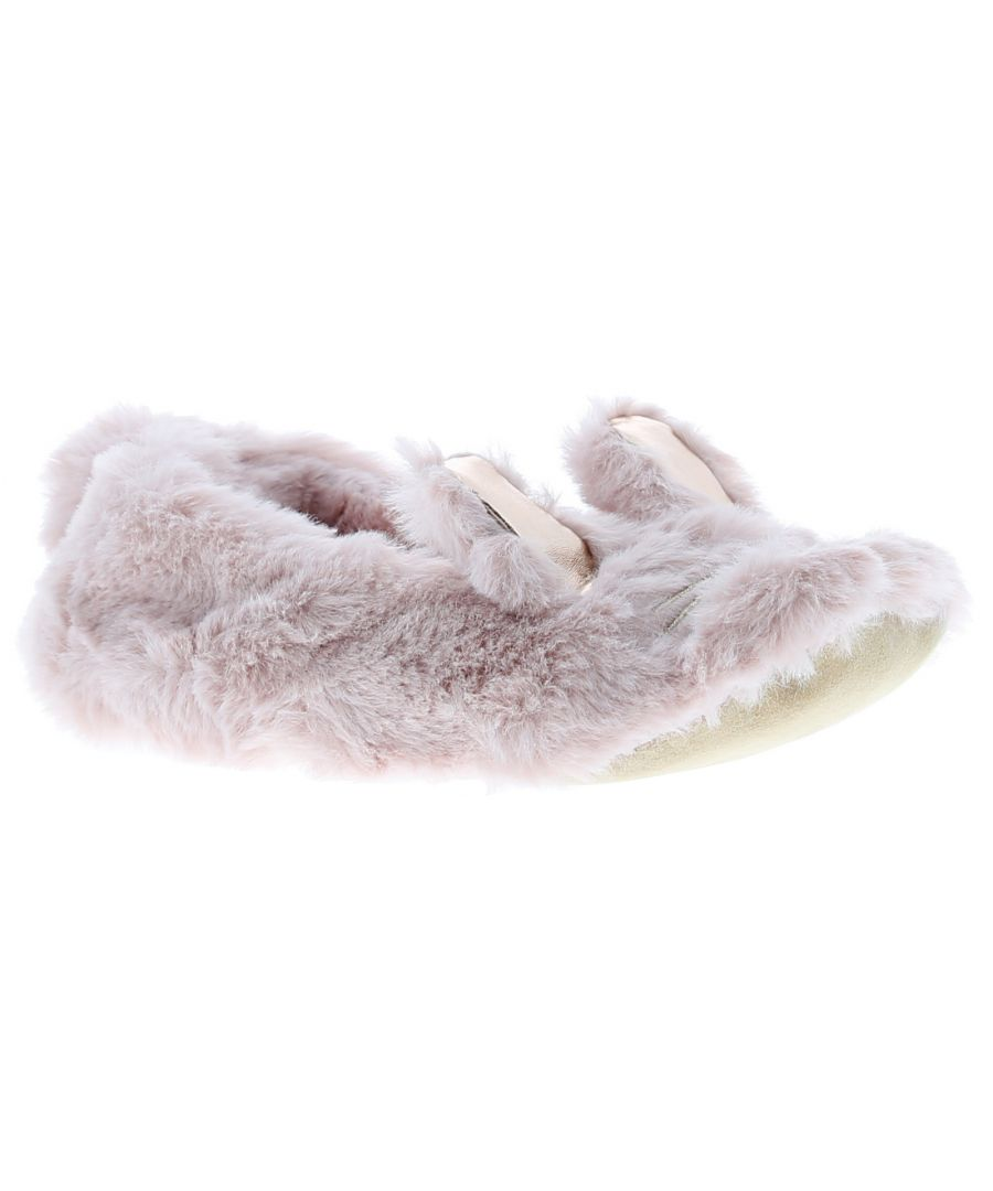 Image for Childs Super Soft Faux Fur Ballerina Slipper Embroidery Face And 3D Ears To Vamp Pom Pom Tai, Matchi
