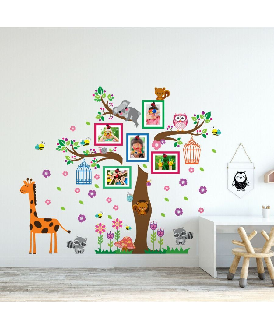 Image for Walplus Happy Tree Bird Cages and Flowers Frames  Self Adhesive,DIY wall decal kids room, wall decal tree