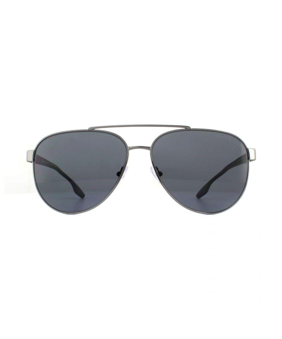 Image for Prada Sport Sunglasses PS54TS 5AV5Z1 Aviator Gunmetal Grey Polarized