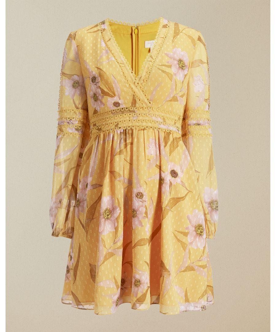 Image for Ted Baker Posyy Cabana Long Sleeve Mini Dress, Yellow