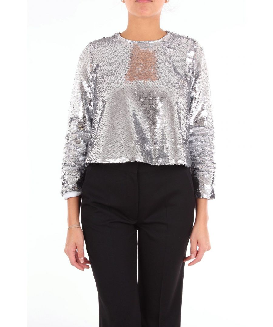 Image for GANNI WOMEN'S F30861809ARGENTO SILVER SILK BLOUSE