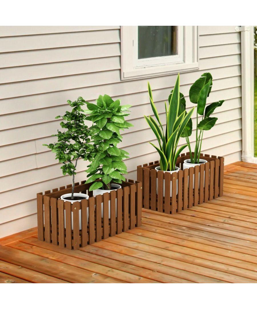 Image for Furinno Tioman Hardwood Slat Style Flower Planter Box in Teak Oil, Natural