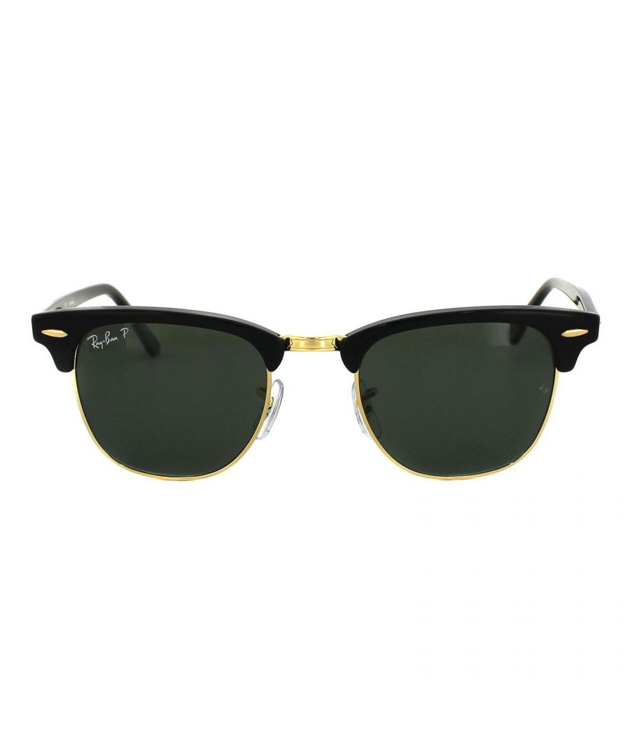 Image for Ray-Ban Sunglasses Clubmaster 3016 901/58 Black Green Polarized Large 51Mm