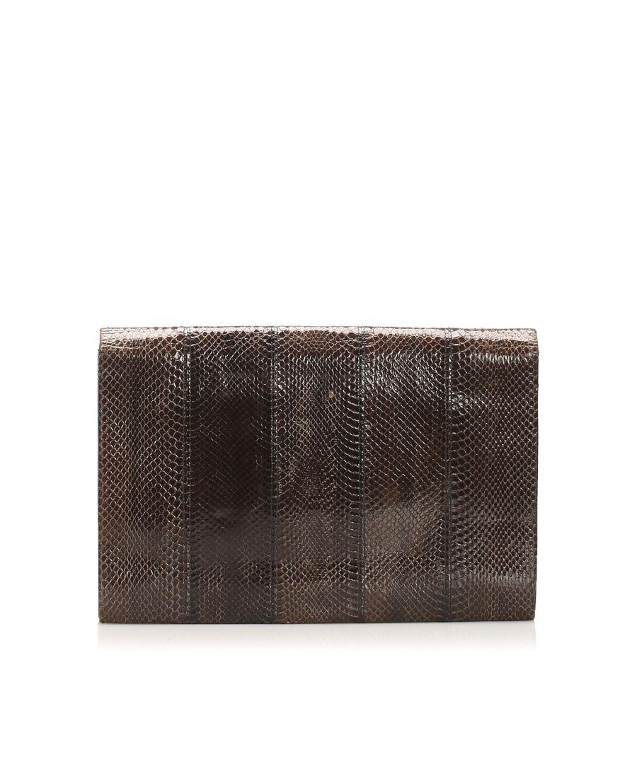 Image for Vintage Ysl Python Leather Clutch Bag Brown
