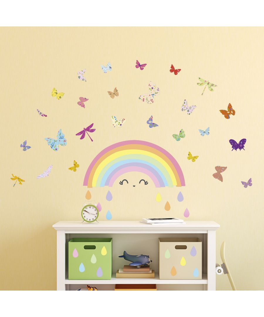 Image for Wall Art - Colourful Rainbow Butterflies