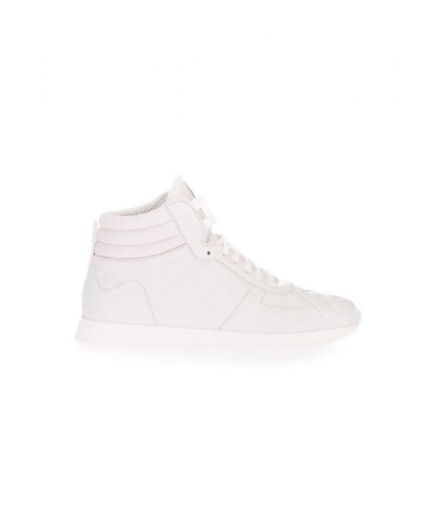 Image for FENDI WOMEN'S 8E7045AADSF0H23 WHITE LEATHER HI TOP SNEAKERS