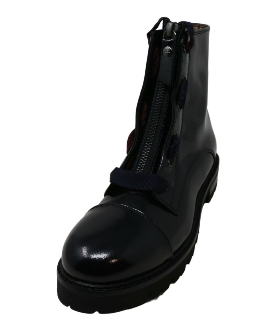 Image for Agl Women's Patent Leather Combat Boot Navy Ankle-High - 7.5 M