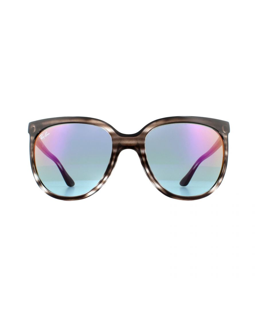 Image for Ray-Ban Sunglasses Cats 1000 4126 6430T6 Striped Grey  Blue Pink Gradient Mirror