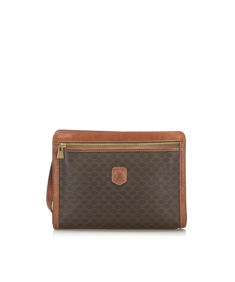 Image for Vintage Celine Macadam Clutch Bag Brown