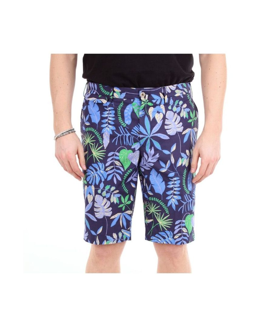 Image for PT01 MEN'S AP61CBBLKCZ00SUMBLUFANTASIA BLUE COTTON SHORTS