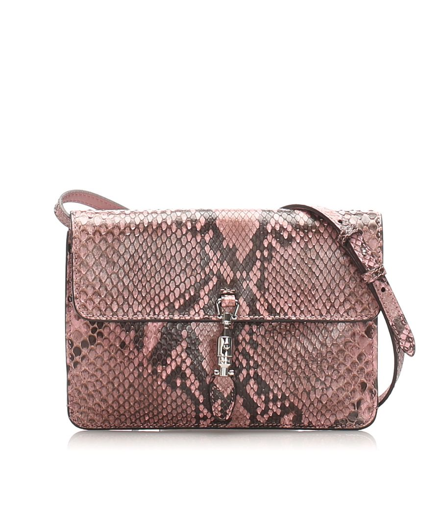 Image for Vintage Gucci Python Jackie Convertible Crossbody Bag Brown