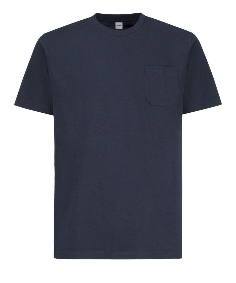 Image for ASPESI MEN'S 3107A335C101098 BLUE COTTON T-SHIRT