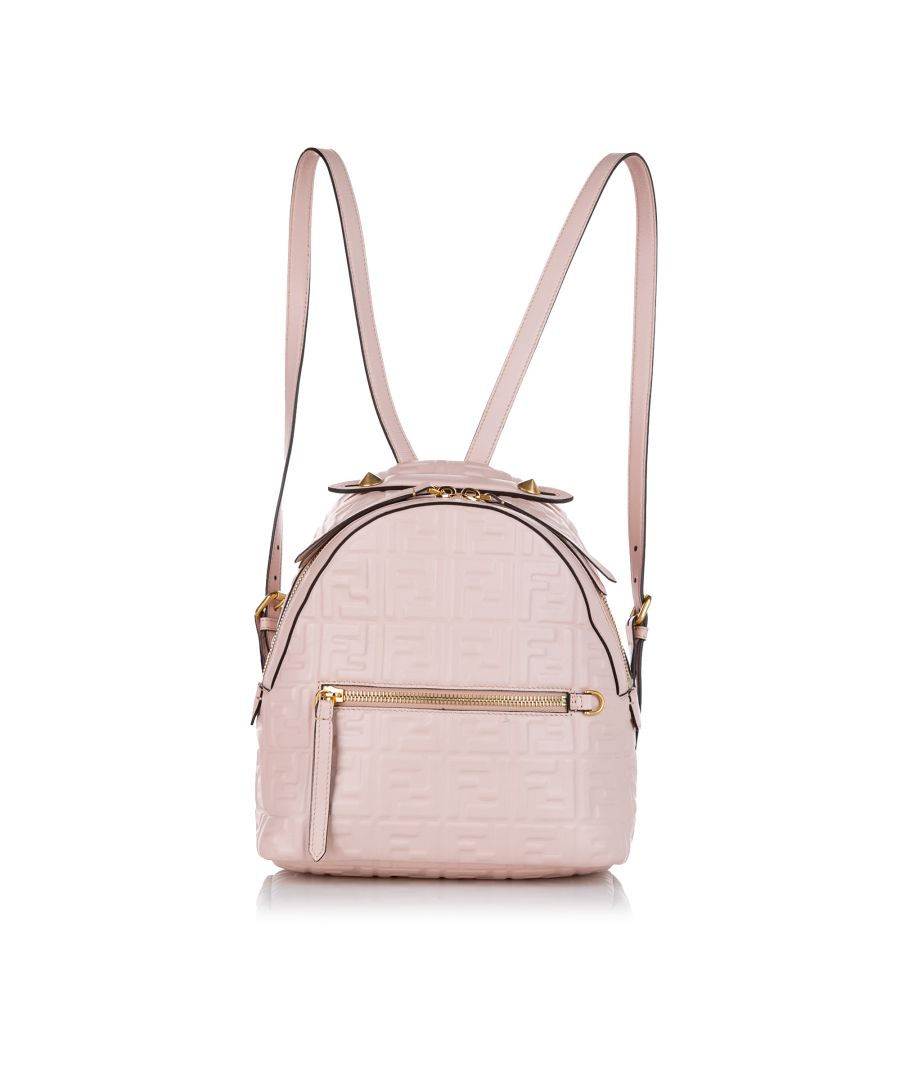 Image for Vintage Fendi Zucca By The Way Leather Backpack Pink