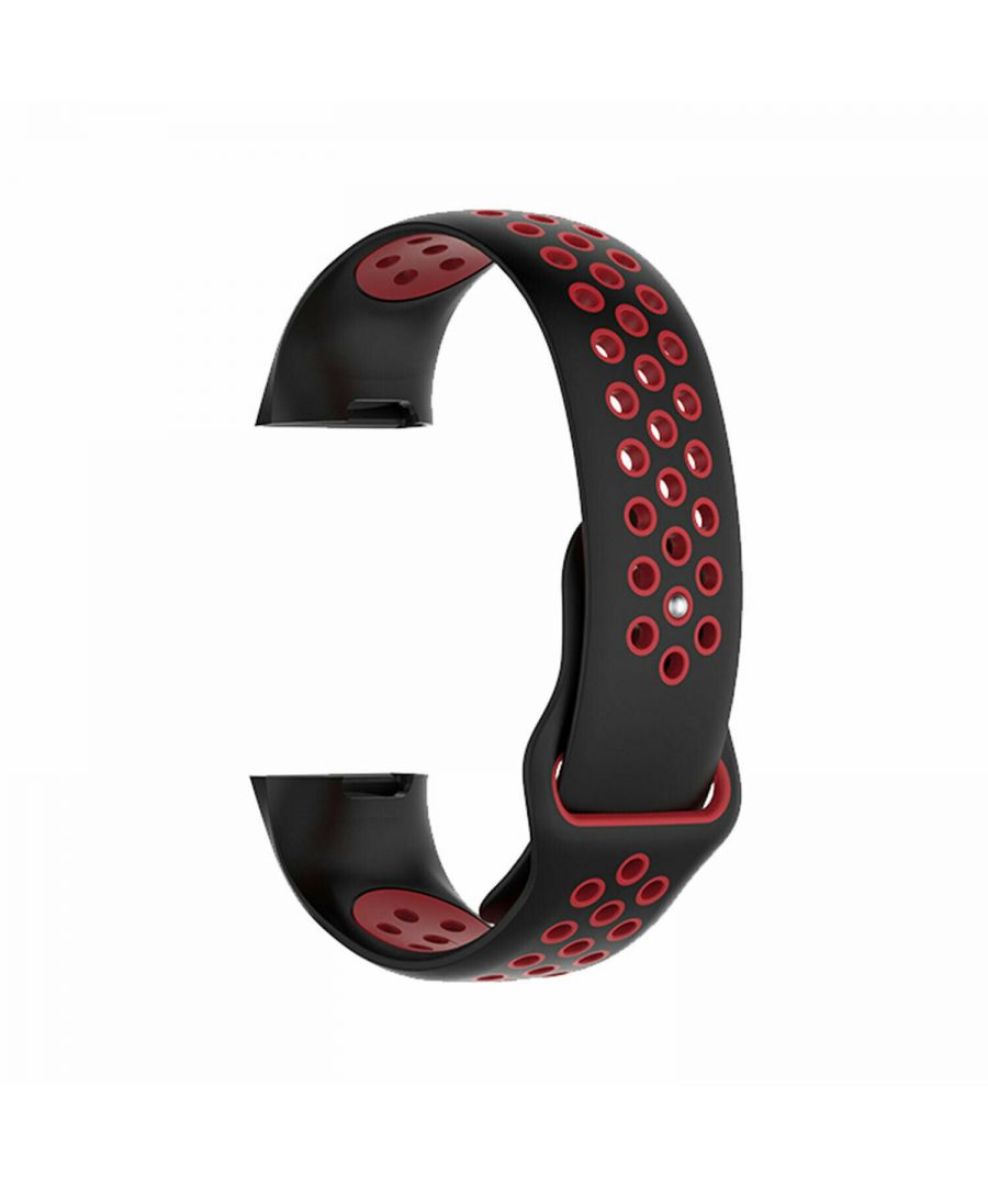 Image for Aquarius Nike Silicone Watch Band for Fitbit Charge 3 Black/Red Large