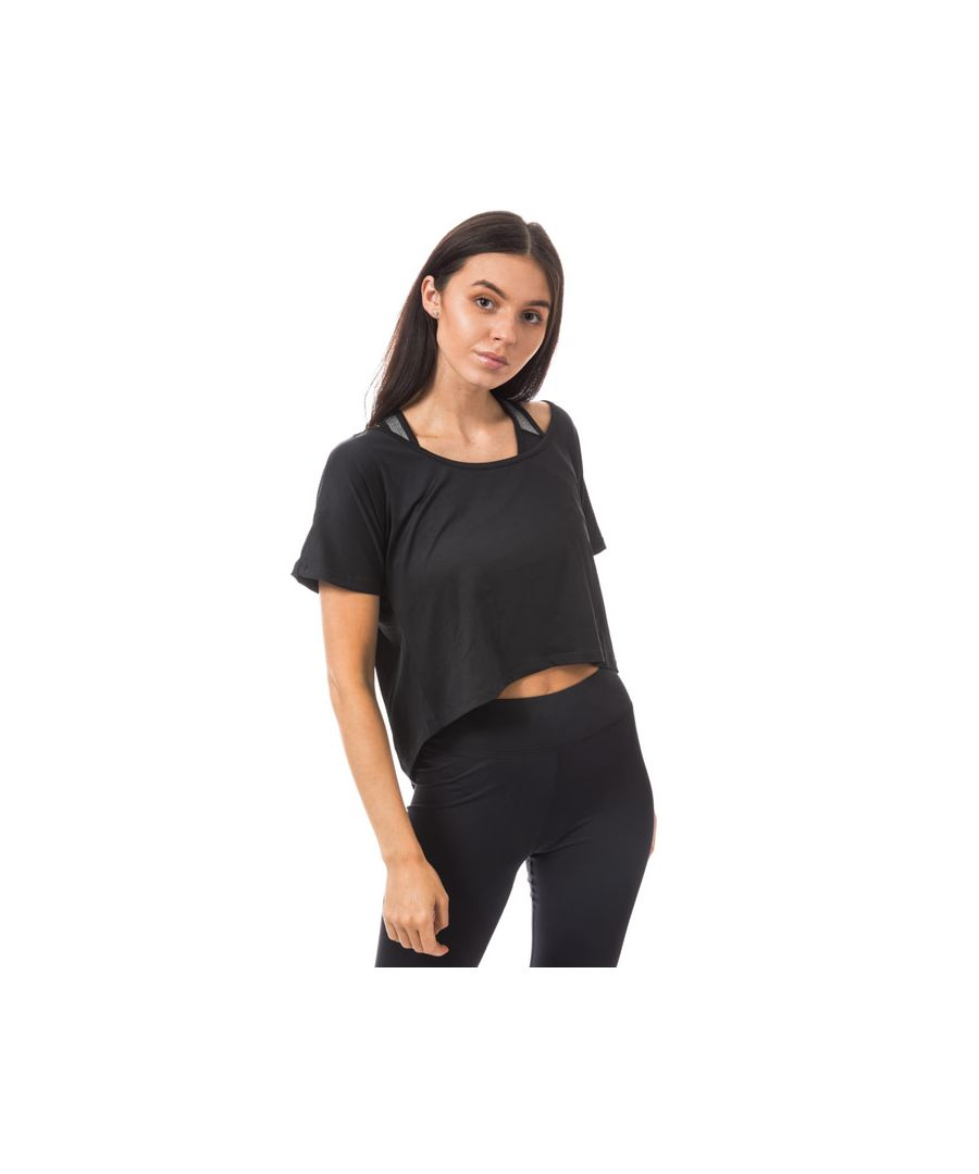 Image for Women's Tokyo Laundry Ellie Cross Over Back Cropped Sports Top in Black