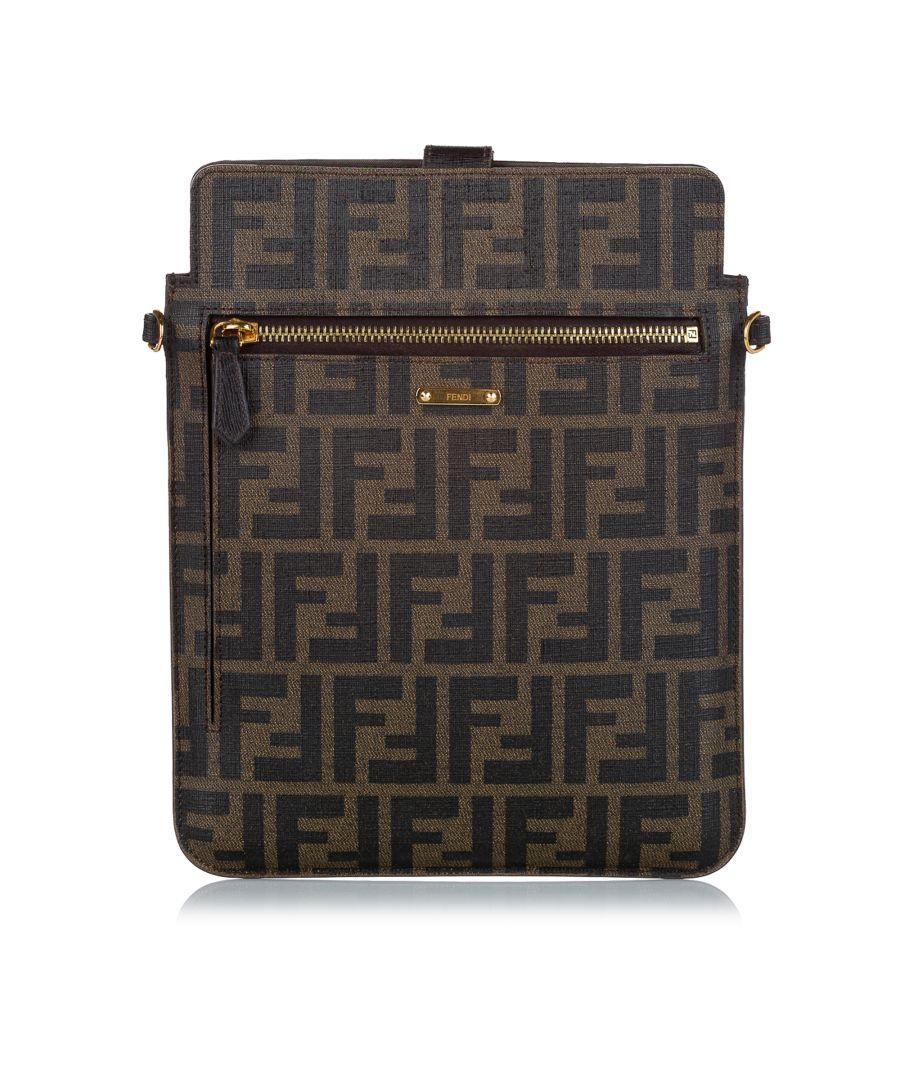 Image for Vintage Fendi Zucca Crossbody Bag Brown