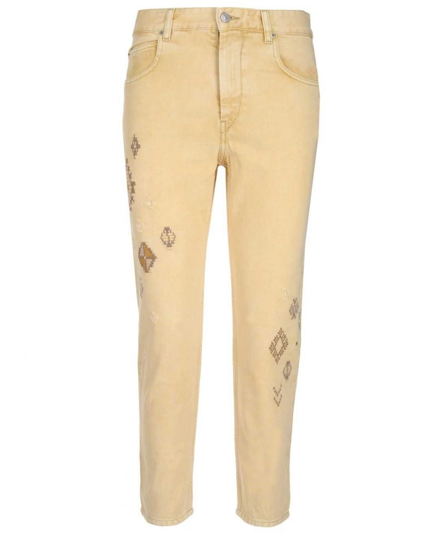 Image for ISABEL MARANT ÉTOILE WOMEN'S PA162520P019E10YW YELLOW COTTON JEANS