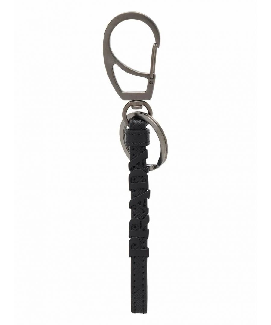 Image for PRADA MEN'S 2PP0972FAFF0002 BLACK LEATHER KEY CHAIN
