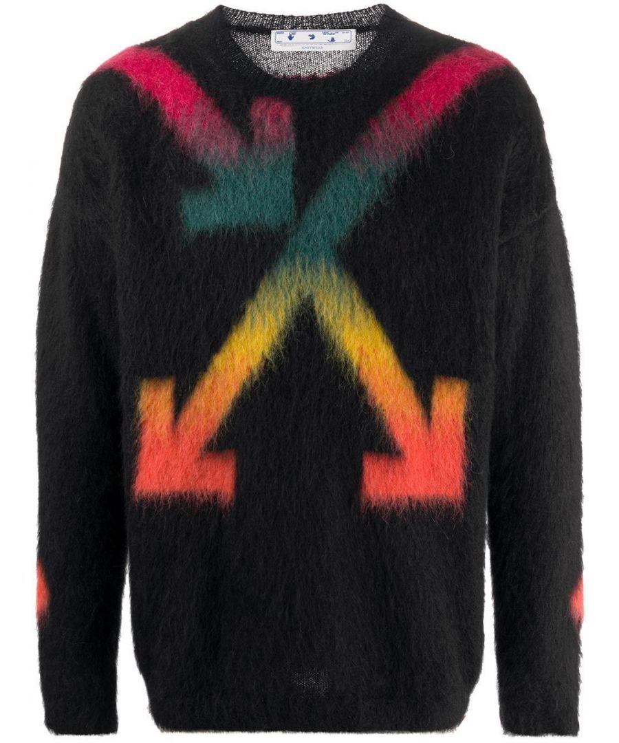 Image for OFF-WHITE MEN'S OMHA036E20KNI0021087 BLACK WOOL SWEATER